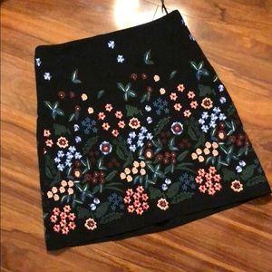 Black Embroidered Zara Skirt